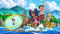 Ash, Iris, and Cilan in bathing suits