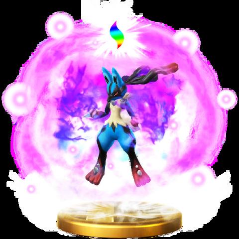 File:Mega Evolution (Lucario) trophy SSBWU.png