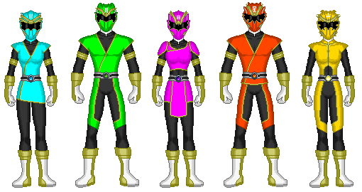 File:Cyan, Lime, Magenta, Vermillion and Sun Data Squad Rangers.png