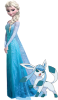 Elsa with her Glaceon
