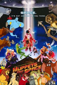 Simba Timon and Pumbaa's adventures of Muppets from Space Poster