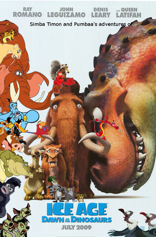 File:Simba Timon and Pumbaa's adventures of Ice Age Dawn of The Dinosaurs poster.jpg