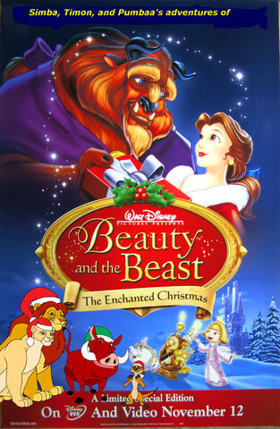 File:Simba, Timon, and Pumbaa's adventures of Beauty and the Beast the Enchanted Christmas Poster.jpg