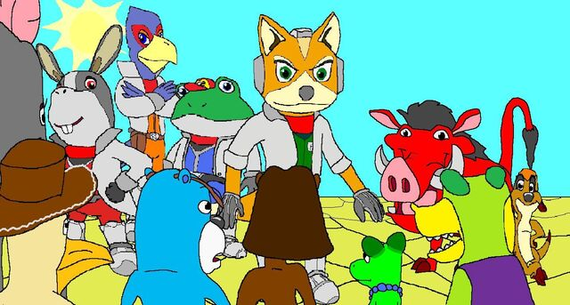 File:The FT Squad Meets Timon, Pumbaa and Star Fox.jpg