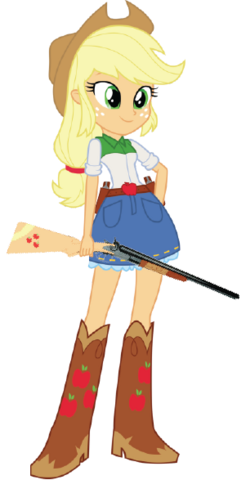 File:EQG Applejack with her weapons.png
