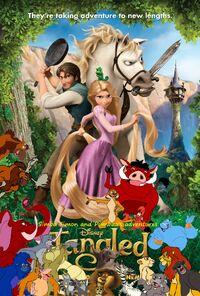 Simba Timon and Pumbaa's adventures of Tangled Poster
