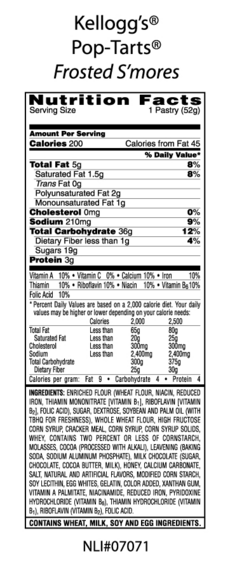Frosted S'mores Nutritional Facts