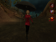 Woman in raincoat with umbrella 003