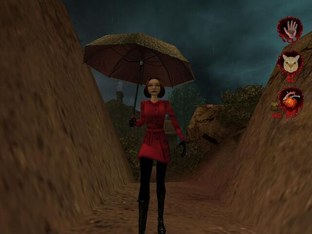 Plik:Woman in raincoat with umbrella 002.JPG