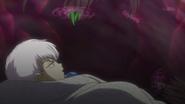 Naraku dissolves the Infant's barrier