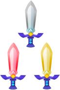 Master Sword, Tempered Sword, and Golden Sword