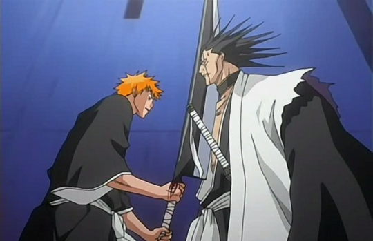File:Zaraki Unaffected by Ichigo's Slash.png