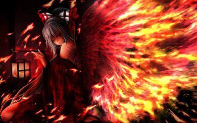 Fire red wings cute girl cool hd wallpaper -animefullfights.com-