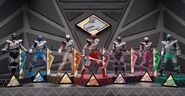 Main 6 Rangers with Purple in Titano Charge Megazord