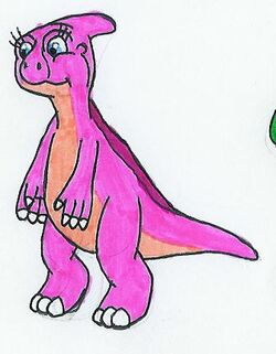 Paris the Pink Parasaurolophus by MCsaurus