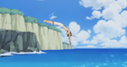 Seiji jumping into the water
