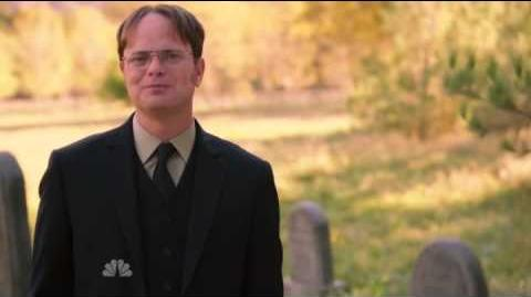 Dwight shoots his aunt coffin at funeral out of kindness