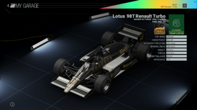 Project Cars Garage - Lotus 98T Renault Turbo