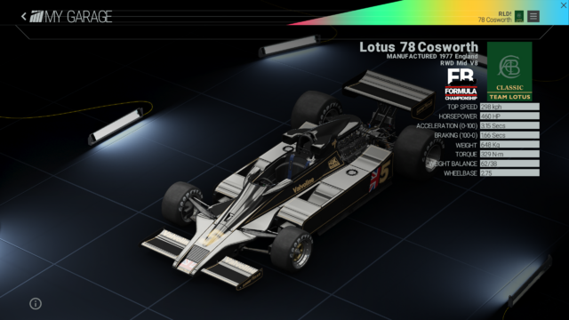 File:Project Cars Garage - Lotus 78 Cosworth.png