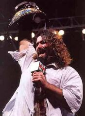 mankind first lost the wwf title to the rock in a i quit match at royal rumble during the match foley took several bumps including eleven unprotected