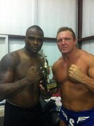 Tyrone Evans aka Michael Tarver and Tim Storm with the CWF Champions Cup