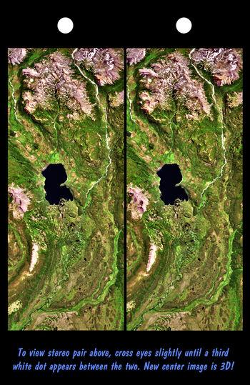 Stereo Pair, Lake Palanskoye Landslide, Kamchatka Peninsula, Russia