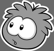 Gey puffle pin
