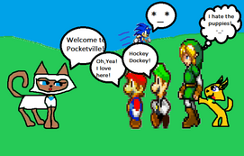 Mario,Luigi,Sonic and Link arrive to Pocketville!