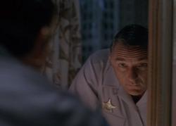 Sam seeing leapee Clayton Fuller in mirror