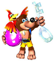 Banjo holding the ice key and pink egg