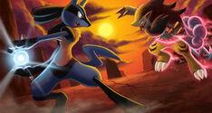 Lucario vs Zoroark by arkeis pokemon