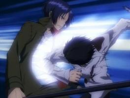 Hibari attacks Mukuro