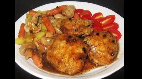 Oven Grilled Black pepper Chicken Thighs with Veggies Recipe