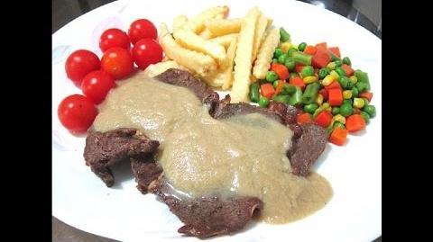 Savory Pan Fry Beef Steak With Fragrant Mushroom Sauce Set Meal Recipe