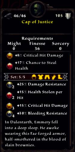 Cap of Justice Inventory