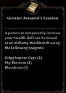 Greater assassin's evasion recipe