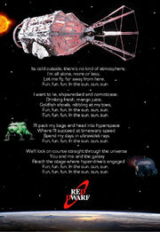 Red dwarf extended lyrics poster by doctorwhoone-d7buock