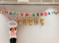 Irene with her balloons
