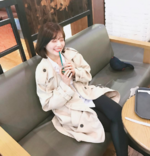 Joy drinking Starbucks 2