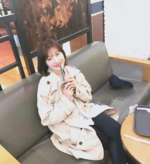 Joy drinking Starbucks