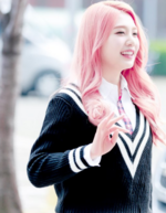 Joy with pink hair