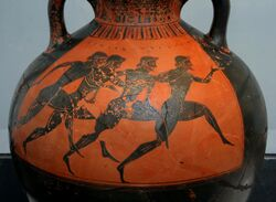 Greek vase with runners at the panathenaic games 530 bC