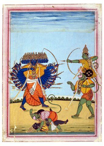 File:Rama and Hanuman fighting Ravana, an album painting on paper, c1820.jpg