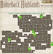 A map of the checkpoints of Ridgeback Highlands