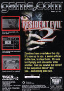 Resident Evil 2 - Game.com back cover
