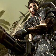 Chris wearing his Heavy Metal costume wielding a Gatling Gun.