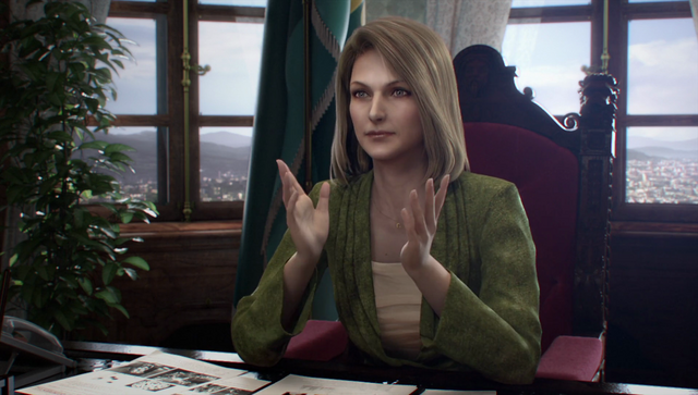 File:Resident Evil Damnation - Svetlana with Ada's Reports scattered on her desk.png