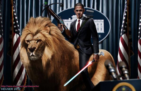 Obama riding a lion by sharpwriter-d5ftze6-1-