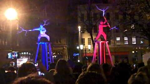 Two men two Tesla coils special suits = ELECTRICITY FIGHT!-0-1-2