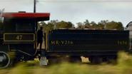 The running steam train.